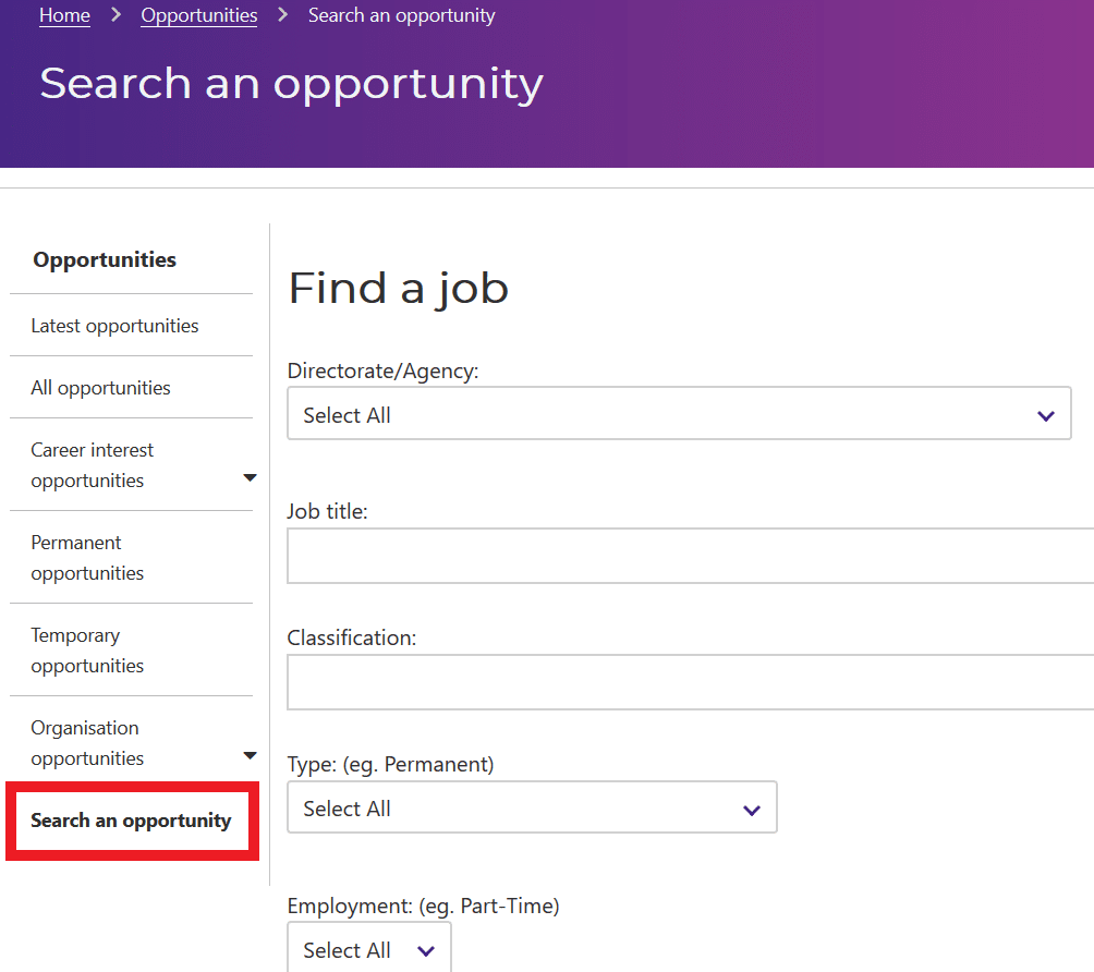A Screenshot Of The Act Government Job Opportunity Search